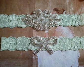 SALE - Wedding Garter Set -  Rhinestone Garter Set on a Light Mint Colored Lace - Style G10002