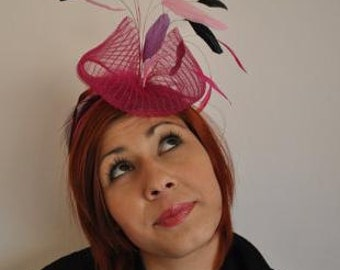 Wedding Hat(Unique):Cyclamen Fascinator Hat with  black feathers