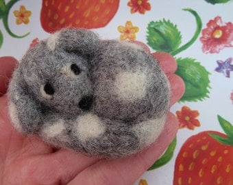 Spotty Dog Needle Felted Miniature Animal Wool Ornament or Brooch Gift Tiny