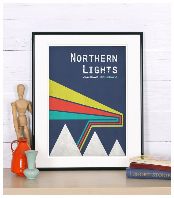 retro print poster northern lights experience scandinavia. Black Bedroom Furniture Sets. Home Design Ideas