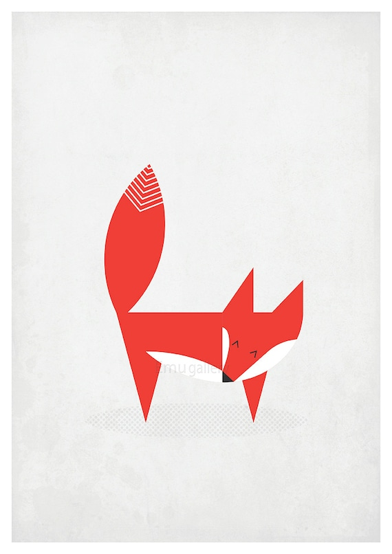 scandinavian poster nordic red fox scandinavian style wall. Black Bedroom Furniture Sets. Home Design Ideas
