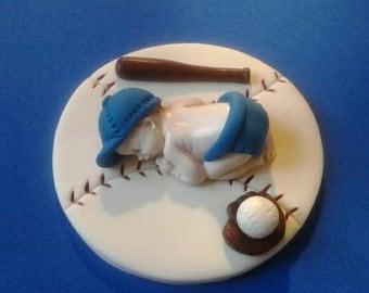 Fondant baby boy baseball cake topper, baby shower, birthday