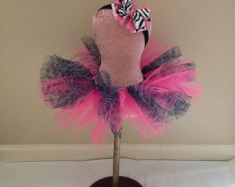 Hot pink and zebra tutu and headband set
