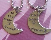 Personalized To the moon and back  stainless steel moon Mother daughter necklace set
