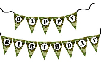 DIY Army military camouflage birthday banner printable file