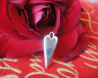 925 sterling silver oxidized heart charm or pendant