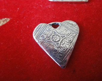925 sterling silver oxidized heart charm, pendant, 1 pc., heart, heart charm, silver heart charm