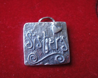 """925 sterling silver """"Sisters""""charm or pendant, silver sisters charm, silver charm, sisters,square charm with sisters printed"""