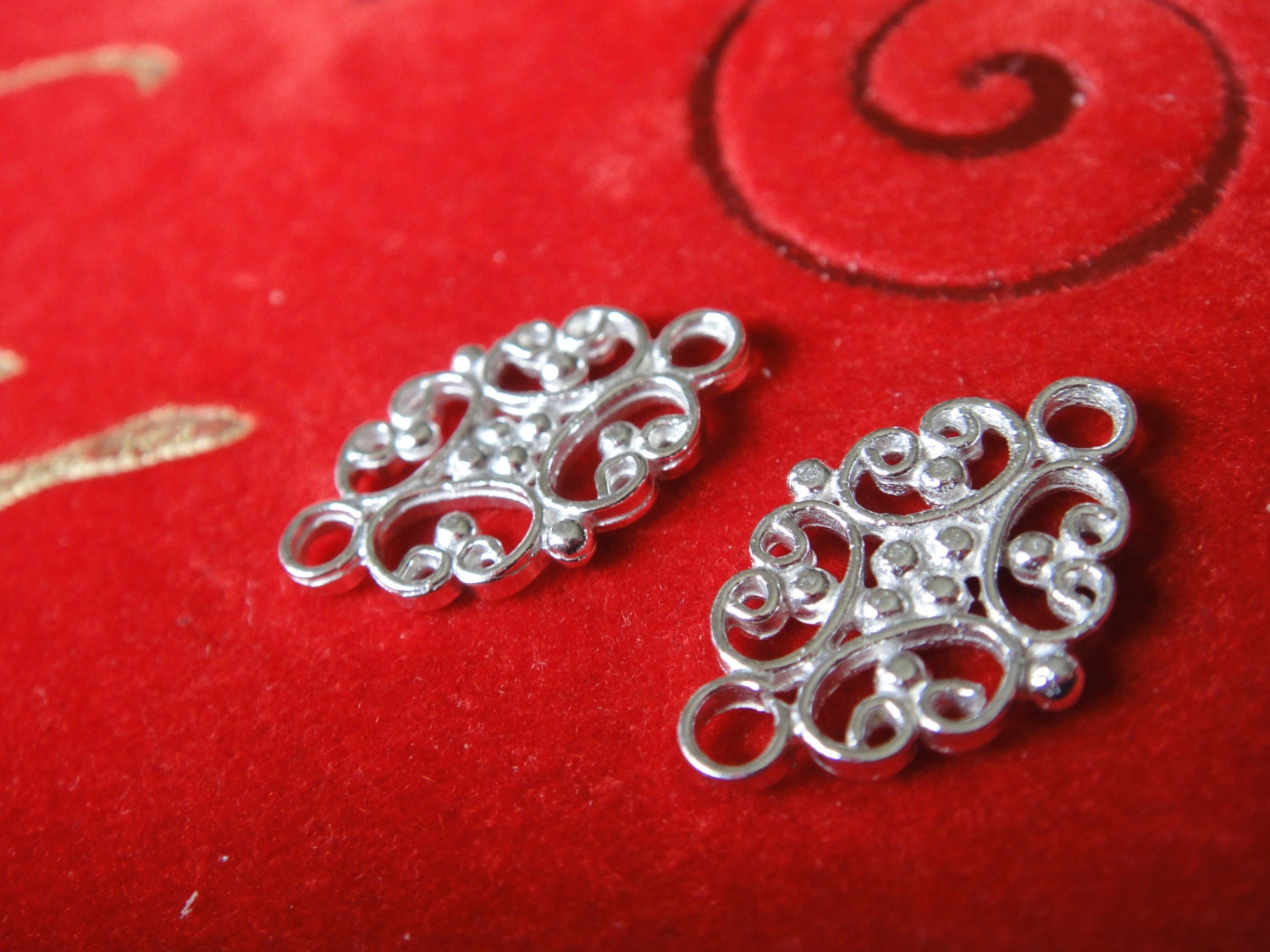 2 Pc 925 Sterling Silver Flower Spacer Connector And Link
