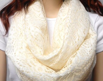 Fabulous CREAM Soft Crochet Lace Infinity Scarf