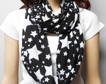 STARS Black & White  Infinity Scarf SUPER Soft Jersey Knit