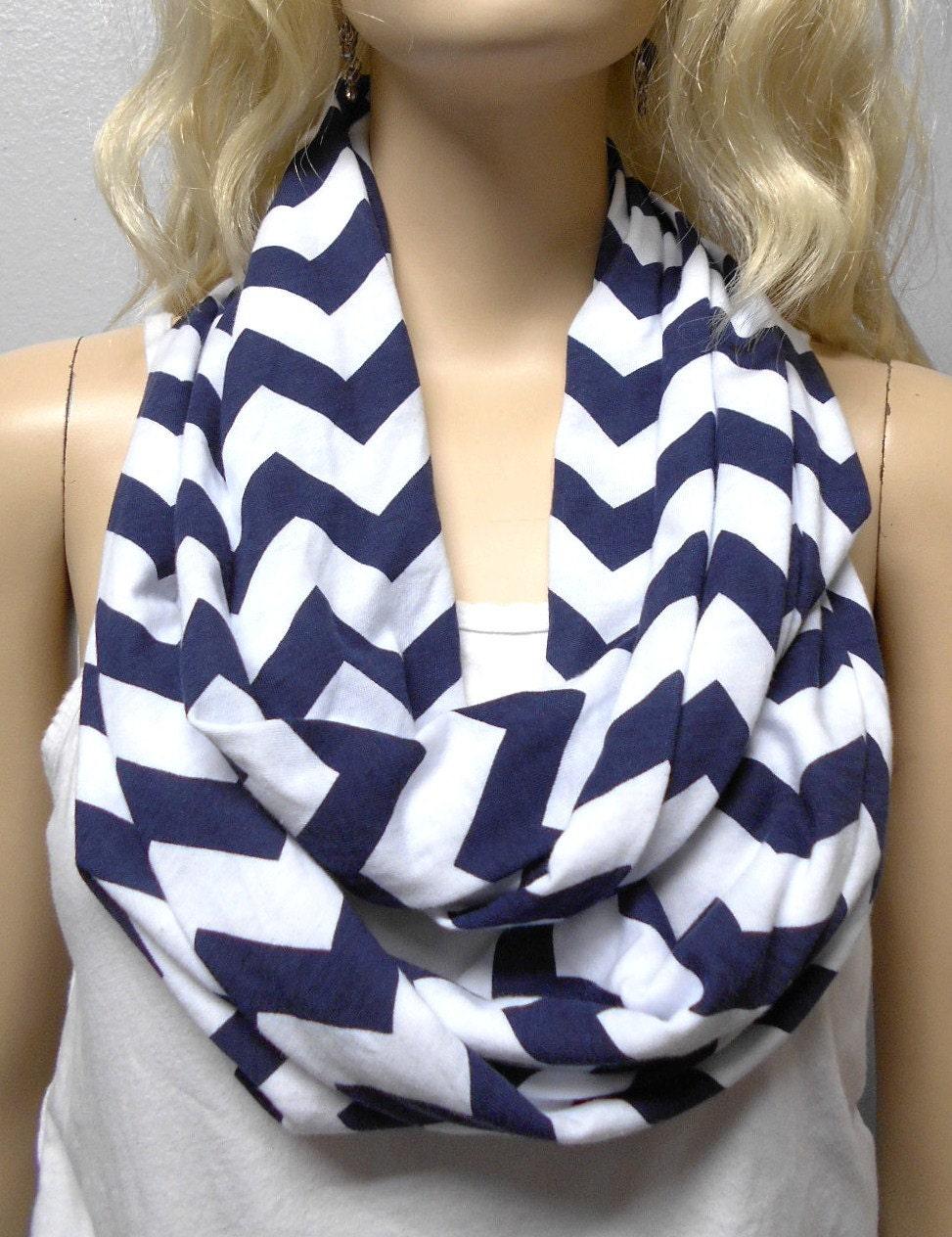 Navy Blue Amp White Chevron Print Infinity Scarf Jersey Knit