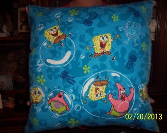 Hand-made  Spongebob and Patrick  throw pillow
