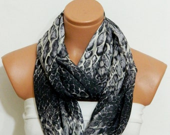 Snakeskin Infinity Scarf,Loop Scarf,snakeskin scarf,Circle Scarf,Black,Gray chiffon fabric Scarf,Cowl Scarf,Nomad Cowl.Eternity Scarf