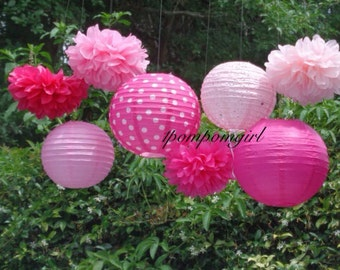TICKLED PINK- 4 tissue paper pom poms/4 paper lanterns / Baby Shower, Birthday, Wedding, Bridal Shower, Nursery Decor