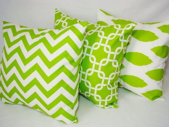 Items similar to green throw pillows green and white 18 for Green and white throw pillows