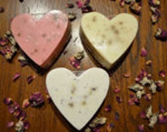 Heart shaped Goat Milk Soap with flower petals - gentle exfoliant - pretty gift soap- guest soap- smells great and great for your skin