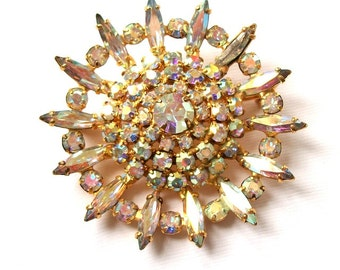 Antique to Vintage Tiered Aurora Borealis Rhinestone Brooch Pin Gold Tone UnSigned Jewelry