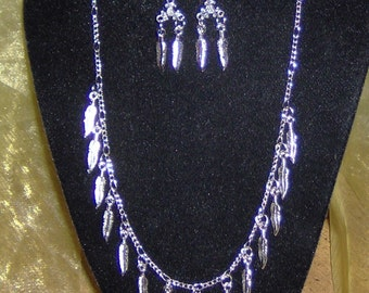 Jewelry Silver Necklace and Earrings,  Handcrafted, Silver Feathers on Davinci Silver Chain with Matching Earrings