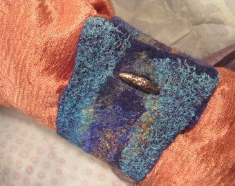 Felted Cuff with Bronze Button