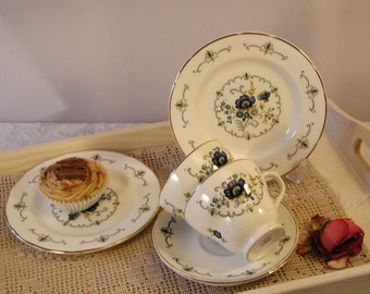 Beautiful Vintage Mayfair China  teacup, saucer and side plate trio pair with blue poppies. TT037.