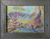 Fine Spotted Cutthroat trout painting fish fly fishing bass outdoor rainbow brown brook