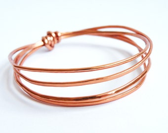 Hammered aluminum copper bangles minimalist jewelry women accessories by SteamyLab