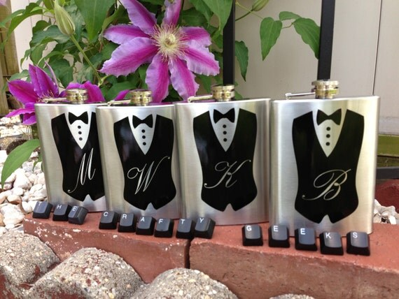 ... Flask - Groomsmen Gift, 8oz, Best Man Gift, Bridal Party Gift