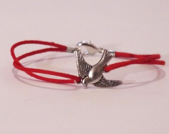 NEW Extra Small Red Dove Charm Bracelet