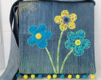 Recycled Denim Bag, Denim Shoulder Bag, Denim Book Bag, Denim Handbag, Recycled Denim Shoulder Bag, Handmade Denim Bag, Applique Flower Bag
