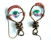 Tree Drops: Earrings Blue Pink Green Glass Bead Earrings Antique Copper Wire Wrapped Round Dangle Handmade - Nevearland
