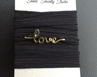 Silk Wrap Bracelet withLove  Charm
