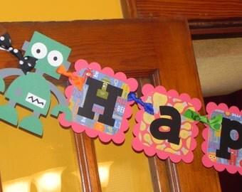 Robot Birthday Banner - Robot Birthday Party