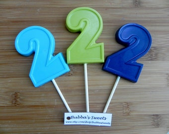 NUMBER TWO Chocolate Pops (12) - 2nd BIRTHDAY/Birthday Favors