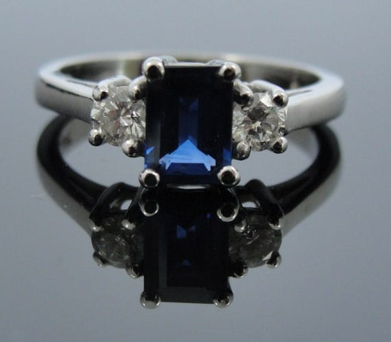 vintage emerald cut sapphire and three by