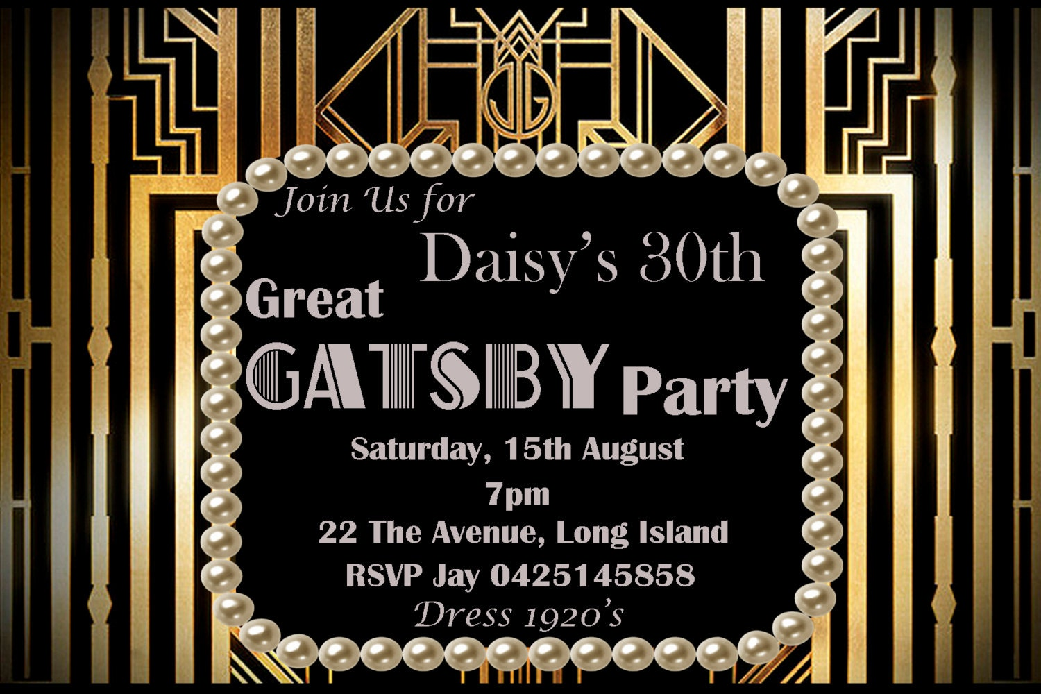 Great Gatsby Inspired Birthday Bridal Shower Bachelorette