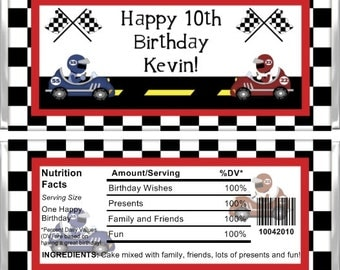 Personalized Candy Bar Wrappers - Kids Birthday- Racecar KB020 (Set of 15)