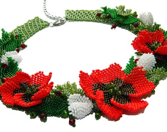 Ukrainian Poppy Beaded necklace Ethnic Statement necklace Traditional collar necklace Flower jewelry Floral Beadwork Vegan necklace Mom gift