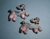 pair PINK POODLE PINS adorable matching Brooches vintage 1950s goldtone jewelry brooch vLv wear on your sweater set rockabilly Charming dogs