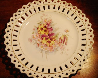 Hand Painted Dish Reticulated Pierced Cut Out Vintage