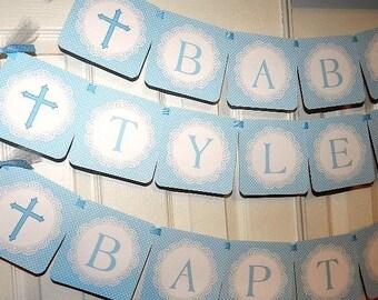 BAPTISM Decoration -God Bless Name Banner- Baptism Banner