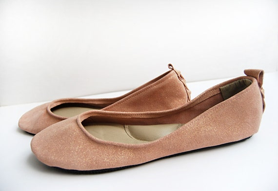Blush rose gold sparkle leather ballerina flat shoes custom made