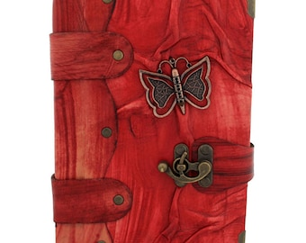 Butterfly Cast On A Leather Journal / Notebook / Diary / Sketchbook / Leatherbound