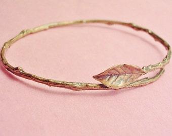 twig jewelry, rose leaf bangle bracelet, antique bronze, nature jewelry, 4 sizes