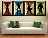 "The 4 Avengers superhero - Captain america, Hulk, Ironman, Thor - minimalist art movie poster prints 4 x 11""x17"""