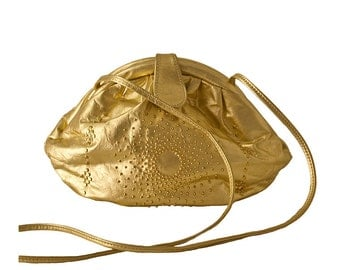 Gold Lame Pouch Purse