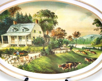 Vintage Tin Tray Currier and Ives featuring The American Homestead - Summer 1868