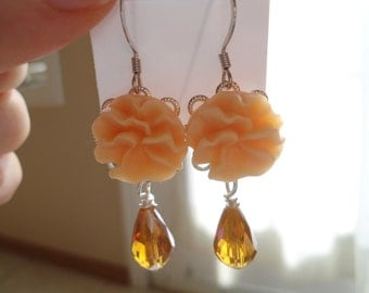Fluffy apricot earrings:  Resin cabochon apricot pansy earrings nickel and lead free