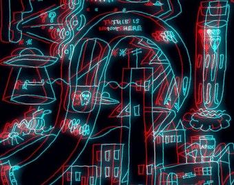 this is not here (neon nights return flights) - Digital Drawing/Photo Manipulation/Photo Print