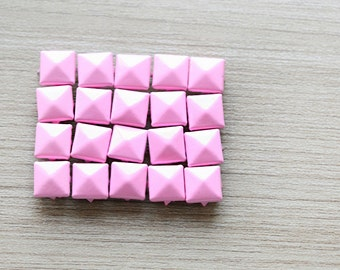 50pcs of Pink Pyramid Studs For Craft - 9 mm